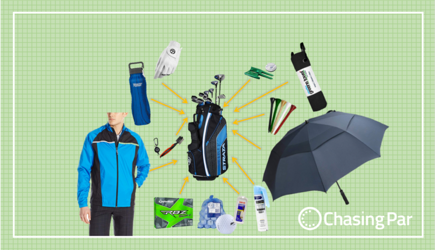 what should be in your golf bag - beginner edition on chasing par - header fb twitter